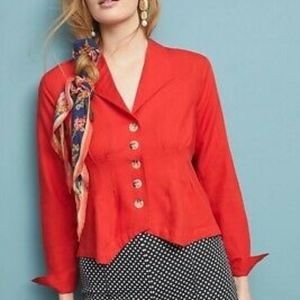Anthro MAEVE button down collared pleated blouse